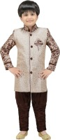 Kute Kids Boys Kurta and Breeches Set(Brown Pack of 1)
