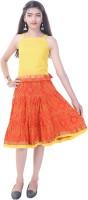 Soundarya Girls Top and Skirt Set(Yellow Pack of 1)