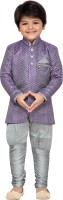 AJ Dezines Boys Sherwani and Churidar Set(Grey Pack of 1)