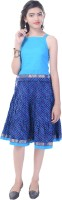 Soundarya Girls Top and Skirt Set(Blue Pack of 1)