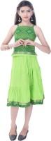 Soundarya Girls Top and Skirt Set(Green Pack of 1)