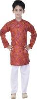 Soundarya Boys Kurta and Pyjama Set(Red Pack of 1)