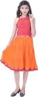 Soundarya Girls Top and Skirt Set(Pink Pack of 1)