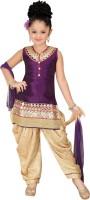 Trendyy Girls Girls Kurti, Patiala and Dupatta Set(Purple Pack of 1)