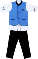 Bad Boys Boys Kurta, Waistcoat and Breeches Set(Blue Pack of 3)