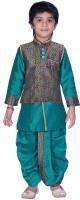 Neeya Fashions Boys Kurta, Waistcoat and Dhoti Pant Set(Green Pack of 1)