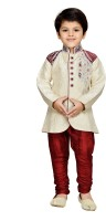 AJ Dezines Boys Sherwani and Churidar Set(Maroon Pack of 1)