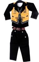 Arshia Fashions Boys Shirt, Waistcoat and Pant Set(Yellow Pack of 1)