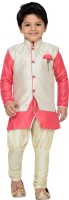 AJ Dezines Boys Festive & Party Kurta, Waistcoat and Pyjama Set(Pink Pack of 1)