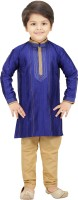 Shree Shubh Boys Kurta and Pyjama Set(Blue Pack of 1)