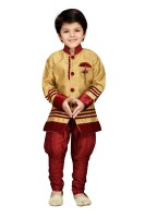 AJ Dezines Boys Festive & Party Sherwani and Churidar Set(Maroon Pack of 1)