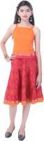 Soundarya Girls Top and Skirt Set(Orange Pack of 1)