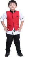 Bad Boys Boys Kurta, Waistcoat and Breeches Set(Red Pack of 3)