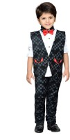 AJ Dezines Boys Shirt, Waistcoat and Pant Set(Black Pack of 1)