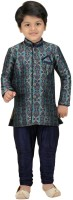Shree Shubh Boys Kurta and Breeches Set(Blue Pack of 1)