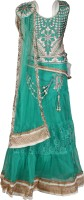 Crazeis Girls Lehenga Choli Ethnic Wear Embroidered Lehenga, Choli and Dupatta Set(Green, Pack of 1)
