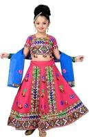 Aarika Girls Lehenga Choli Ethnic Wear Self Design Lehenga, Choli and Dupatta Set(Pink, Pack of 1)