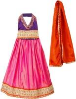 BownBee Girls Lehenga Choli Fusion Wear Embellished Lehenga, Choli and Dupatta Set(Purple, Pack of 1)