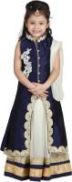 Crazeis Girls Lehenga Choli Ethnic Wear Embroidered Lehenga Choli(Blue, Pack of 1)