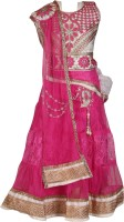 Crazeis Girls Lehenga Choli Ethnic Wear Embroidered Lehenga, Choli and Dupatta Set(Pink, Pack of 1)