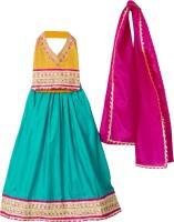 BownBee Girls Lehenga Choli Fusion Wear Embellished Lehenga, Choli and Dupatta Set(Yellow, Pack of 1)
