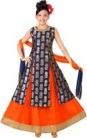 Trendy Girls Girls Lehenga Choli Ethnic Wear Self Design Ghagra Choli(Dark Blue, Pack of 1)