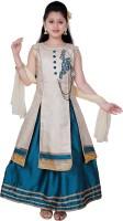 Saarah Girls Lehenga Choli Ethnic Wear Embellished Lehenga, Choli and Dupatta Set(Green, Pack of 1)
