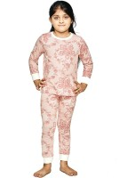 Ventra Kids Nightwear Girls Paisley Cotton(Red Pack of 1)