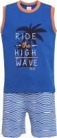 FS MINI KLUB Kids Nightwear Boys Solid, Printed Cotton(Blue Pack of 2)