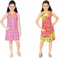 Red Rose Kids Nightwear Girls Printed Cotton(Multicolor Pack of 2)
