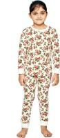 Ventra Kids Nightwear Girls Printed Cotton(Beige Pack of 1)