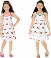Red Rose Kids Nightwear Girls Printed Cotton(Multicolor Pack of 2)