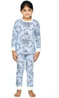 Ventra Kids Nightwear Girls Paisley Cotton(Blue Pack of 1)