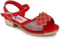 N Five Girls Buckle Strappy Sandals(Red)