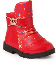 N Five Girls Slip on Casual Boots(Red)