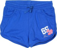 Elle Kids Short For Girls Casual Solid Cotton(Blue)