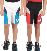 KNIT ABC Garments Short For Boys Sports Embriodered Cotton(Black, Pack of 2)