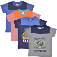 Luke and Lilly Boys Graphic Print Cotton T Shirt(Multicolor, Pack of 4)