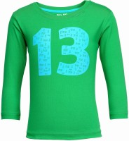 NO.99 Boys Printed Cotton T Shirt(Green, Pack of 1)