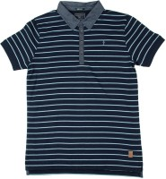 Indian Terrain Boys Striped Cotton T Shirt(Dark Blue, Pack of 1)
