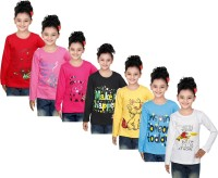 IndiWeaves Girls Printed Cotton T Shirt(Red, Pack of 7)