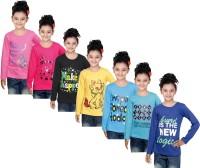 IndiWeaves Girls Printed Cotton T Shirt(Pink, Pack of 7)