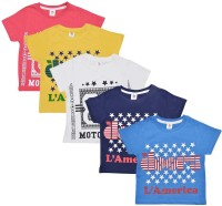 Luke and Lilly Boys Graphic Print Cotton T Shirt(Multicolor, Pack of 5)