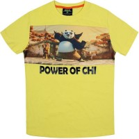 Kung Fu Panda Boys Printed Cotton T Shirt(Yellow, Pack of 1)