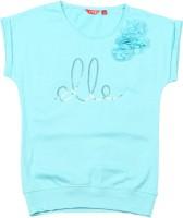 Elle Kids Girls Solid Cotton T Shirt(Blue)