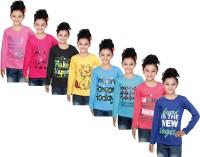 IndiWeaves Girls Printed Cotton T Shirt(Pink, Pack of 8)