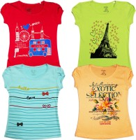 Kids Care Girls Printed Cotton T Shirt(Multicolor, Pack of 4)