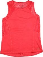 Elle Kids Girls Solid Cotton T Shirt(Red)