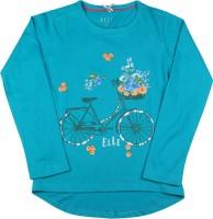 Elle Kids Girls Printed Cotton T Shirt(Blue)