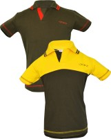 Gkidz Boys Solid Cotton T Shirt(Dark Green Pack of 2)